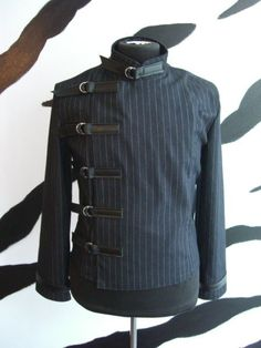 Men's short pinstripe buckle jacket by supernalclothing on Etsy, $95.00