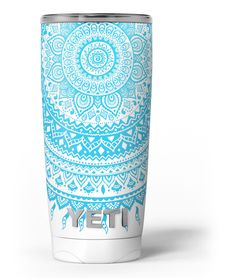 Bright Blue Circle Mandala v3 Yeti Rambler Skin Kit from DesignSkinz
