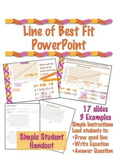 Line of Best Fit PowerPoint with Student Work Along Sheet – Animation ideas 8th Grade Math, Math Class, Math Teacher, Teaching Math, Teaching Ideas, Middle School Teachers, High School, Line Of Best Fit, Math Courses