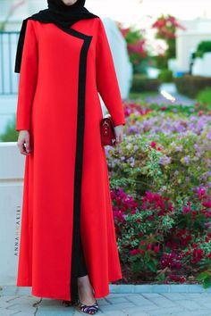 modern jilbabs islamic abaya online hijab style clothing clothing catalogues muslim clothes for sale red dress Islamic Fashion, Muslim Fashion, Modest Fashion, Fashion Dresses, Mode Abaya, Mode Hijab, Abaya Fashion, Fashion Wear, Moda Formal