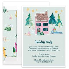 Personalized Watercolor Holiday House Invitations