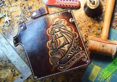 Chain Wallet Nautical (Biker Wallet,Sailor wallet,ocean,trucker wallet,leather wallet,Navy wallet,traditional tattoo wallet,pirate wallet)