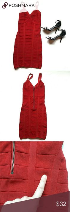 bebe ⏺ bandage bodycon dress In great condition. Gorgeous red dress by bebe. Has one flaw: has a slight small mark on the back (see pic above) but is not seen unless you look very closely. Has zipper and clasp on the back. Very stretchy. Bust and length Measurements provided in pics above. True to size. From a smoke and pet free home. Fast shipping! Office - Vacation - Wedding - Fun - Dress up - date night - cruise - spring - summer *IF YOU LIKE MY ITEMS, please FOLLOW ME to see NEW ARRIVALS…
