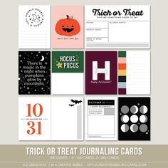 This set of ten Halloween themed digital journaling cards is perfect for pocket page protectors, scrapbooking and mini-books. Included in this set. Project Life Layouts, Project Life Cards, Life Journal, Journal Cards, Scrapbook Page Layouts, Scrapbook Pages, Halloween Mini Albums, Halloween Images, Pocket Scrapbooking