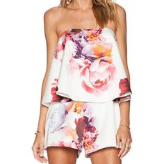 Strapless Florals Ruffle Jumpsuit ($27) ❤ liked on Polyvore featuring jumpsuits, rompers, dresses, jumpsuit, outfits, jumpsuits and rompers, white, romper jumpsuit, ruffle romper and floral print romper