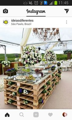 10 original ideas to present your wedding buffet or reception . - 10 original ideas to present your wedding buffet or reception … – Decoration table – - Deco Buffet, Pallet Wedding, Wedding Rustic, Trendy Wedding, Dream Wedding, Buffet Wedding, Wedding Ideas Using Pallets, Wedding Desert Bar, Elegant Wedding