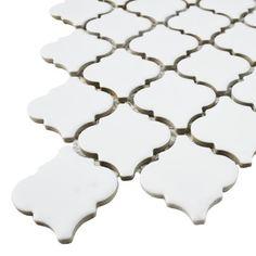 """EliteTile Pharsalia 2"""" x 2.25"""" Porcelain Mosaic Tile in Matte White"""
