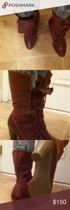 Boots Burgundy Boots look good with skinny jeans worn twice Timberland Shoes Heeled Boots