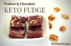 """370 Likes, 6 Comments - @ditchthecarbs on Instagram: """"Double tap your love for fudge!!!!! Simply the best and easiest chocolate walnut keto fudge you…"""""""