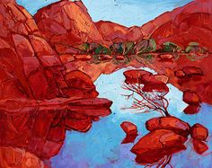 "Joshua Tree Desert California Landscape Abstract Impressionism Original Oil Painting 48"""