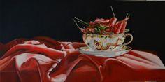 Oil paint on canvas, 'Dragons breath' 380 mm x 760 mm, Artist Ronda Turk Studio 202, Dragons, Tea Cups, Oil, Canvas, Tableware, Artist, Painting, Tela
