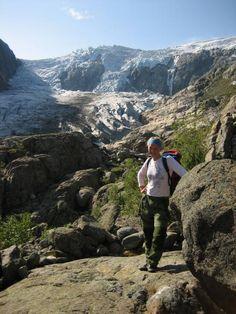 At the foot of Buarbreen glacier in Hardangerfjord, Norway. www.OpplevOdda.com