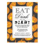 Eat Drink & Be Scary | Happy Halloween Party Postcard #halloween #happyhalloween #halloweenparty #halloweenmakeup #halloweencostume