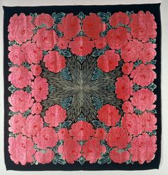 French embroidered silk shawl, ca. 1920-1929.