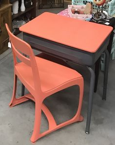 Old Metal Flip Top Desk From Goodwill And Old Wooden And Metal School Desk  Chair Repainted