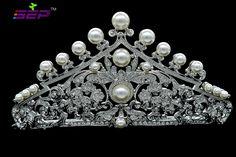 2015 Flor pérola da tiara nupcial Cabelo Acessórios Quinceanera Tiaras e coroas de casamento Parte principal de cristal austríaco 4001R1