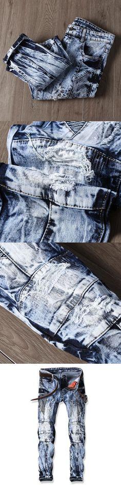 Men Jeans Design Fashion Biker Runway Hiphop Slim Jeans For Men Cotton Good Quality Motorcycle Jeans Blue Black 28-38