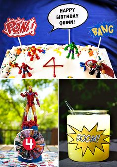 """Go to the website! MARVELous Superhero Themed Birthday Party. Lots of pics & neat ideas! Love the backdrop that says """"It's Been A MARVELous Year""""!"""