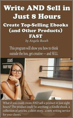 What if you could create AND sell an ebook or other product in just eight hours? The product could be anything: a Kindle ebook, a collection of articles, a short story… a new writing service for your clients. This program will show you how to think outsid Fiction Writing, Writing A Book, Writing Tips, Start Writing, Thesis Writing, Book Writer, Writing Practice, Writing Help, Essay Writing