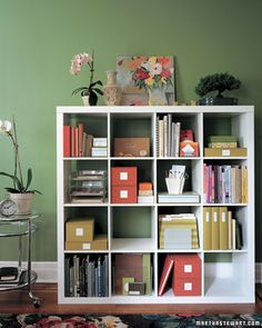 This storage system helps keep your desktop clean and tidy. The cubbies lend themselves to logical organization and make it easy to find exactly what you're looking for. Sort books by spine or jacket color to tame the visual clutter and make searches easier.