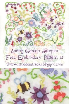 Embroidery Patterns Free Spring Sampler hand embroidery pattern by Aimee Ray, author of Doodle Stitching, The Motif Collection. Hand Embroidery Patterns Free, Embroidery Flowers Pattern, Embroidery Sampler, Embroidery Monogram, Learn Embroidery, Hand Embroidery Stitches, Embroidery Techniques, Machine Embroidery Designs, Embroidery Ideas