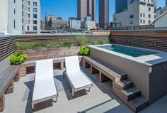4-foot-deep outdoor swimming pool (where you swim against the current), on a terrace in TriBeCa