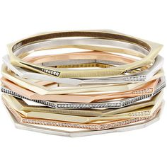 Kendra Scott Aubrey Stacking Bracelet ($160) ❤ liked on Polyvore featuring jewelry, bracelets, mixed metal, stacked bracelet set, kendra scott, stackers jewelry, stacked bangles and rose jewelry