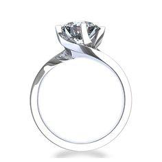 diamond engagement rings | Elegant Twist 3/4 ctw Diamond Engagement Ring in 14k White Gold