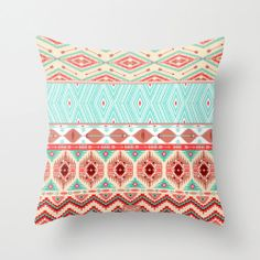 Aztec Red/Blue Vintage Theme Mix Tribal Pattern Throw by Bany6, $24.99