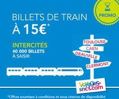 Nouvelle édition de la promo des 40 000 billets Intercités à 15€ permettant de circuler entre des villes telles que Paris, Bordeaux, Toulouse ou Caen à des tarifs exceptionnels.