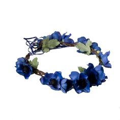 Crown and Glory Anemone Floral Crown in Indigo Blue