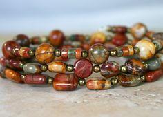 Jasper wrap bracelet memory wire bracelet by JewelryByLoriStave