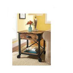 RUSTIC END TABLE Furniture Side BEDSIDE Storage Wood Vintage Industrial Antique #Country