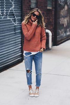 madewell chunky knit sweater + boyfriend jeans