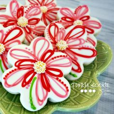 Abstract flower cookies