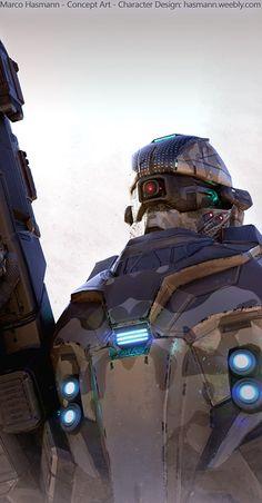 Futuristic Soldier Concept, Marco Hasmann on ArtStation at https://www.artstation.com/artwork/6PJkr