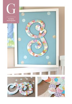 Nursery Monogram!    This cute little initial is decorated with scrapbook paper set in light pastels and patterns arranged to resemble fish scales for this baby's sea-life room!