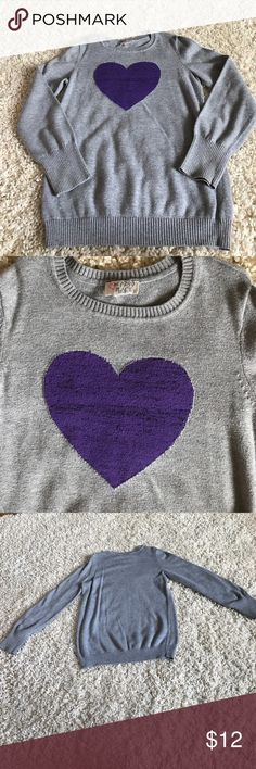 Cute Girl's Gray with Purple Heart Sweater This is a really cute girl's size 8/10 Gray with Purple Heart Sweater from the Children's Place! It is in great condition and was worn and washed once! There are no holes, tears or stains! Children's Place Shirts & Tops Sweaters