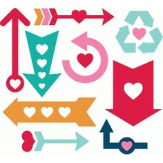 Silhouette Design Store: heart arrow set
