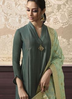 Buy Green Silk Embroidered Anarkali Suit - Anarkali Suit for Women from Andaaz Fashion at Best Prices. Simple Kurta Designs, Silk Kurti Designs, Kurta Designs Women, Neck Designs For Suits, Dress Neck Designs, Designs For Dresses, Indian Fashion Dresses, Indian Designer Outfits, Beautiful Pakistani Dresses