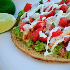 Grilled Chicken Breast Tostadas - yummy, except the tortillas don't crisp on the grills like recipe says. I brushed with olive oil and put in a pan, crisped enough.