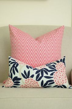 Fleur Chinoise in Navy, Coral, and Beige on Aqua linen - gorgeous gorgeous cushions!