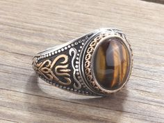 Men Ring 925 Silver Tiger's Eye Stone Men's Gemstone Jewellery #IstanbulJewellery #Ring