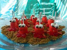 Sew Homegrown: {DIY} Crabby Marshmallow Pops. Sebastian. Little Mermaid party
