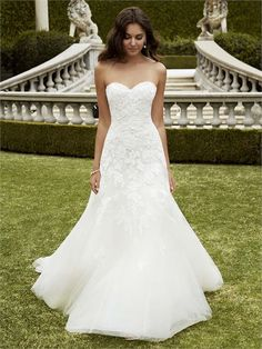 Izmir from Blue By Enzoani is a mermaid gown with lace detailing and a sweetheart neckline