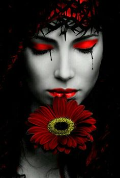 girl with red flower,,,