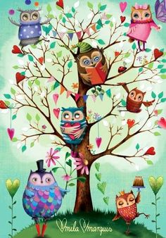 Tree of owls love this it's like I can relate each owl to a person in my life Illustrations, Illustration Art, Owl Tree, Owl Cartoon, Owl Always Love You, Beautiful Owl, Owl Crafts, Wise Owl, Tier Fotos