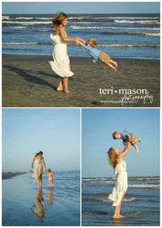 Mom and son playing on beach