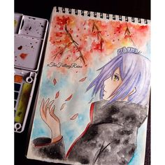 【xthefallingrainx】さんのInstagramをピンしています。 《I made this days ago but I tried my new watercolors on it on Saturday o_o I did not go to school today. Yesterday it rained so much and I did not have an umbrella either so I had to run outside in the rain towards my car and my shoes were filled with water and my bag was soaking wet. It felt as if I swam through a flood o_o Reference was used ~ #konan #naruto #akatsuki #watercolor #anime #animeart #animegirl #traditionalart #draw #drawing #illust…