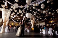 Wedding pomander flower kissing balls or lantern decorations. Black and white wedding decorations.
